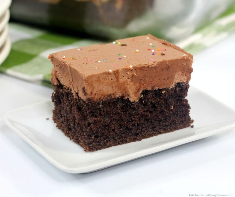 deep depression cake with chocolate frosting