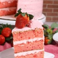 slice of layered strawberry cake recipe