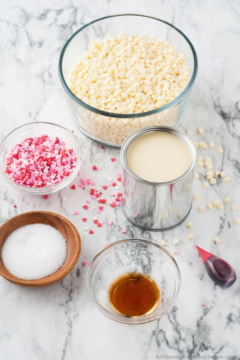ingredients for Valentine's Day Fudge