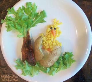 A Chick Cracking his Potato Egg Dinner