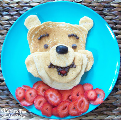 Winnie the Pooh Pancakes for breakfast from KitchenFunWithMy3Sons.com
