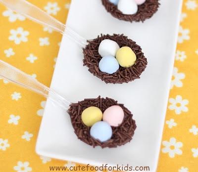 Chocolate Bird Nests on a Spoon