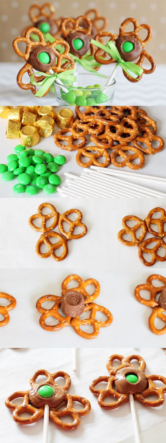 Shamrock Pretzel Rod Pops for a fun St. Patrick's Day treat!