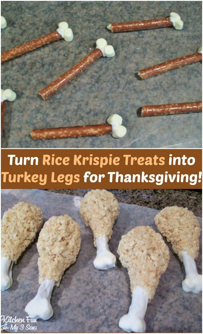 Turn Rice Krispie Treats into a Turkey Legs for Thanksgiving...so easy & fun for the Kids!