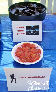 Dark Side Chips (blue chips) with Jango Mango Salsa (premade from the grocery store)