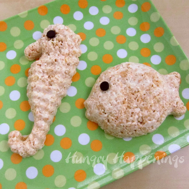 Rice krispie animals sea life creatures kitchen fun for Summer fish and rice