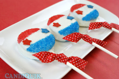 Patriotic Oreo Lollipops