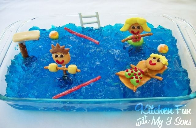 Pool party jell o dessert kitchen fun with my 3 sons Valentine pool swimming lessons