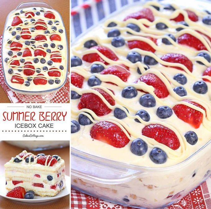 No Bake Patriotic Ice Box Cake...perfect for Summer!