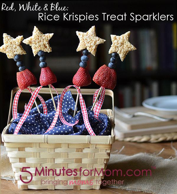 Patriotic Rice Krispie Treat Sparklers