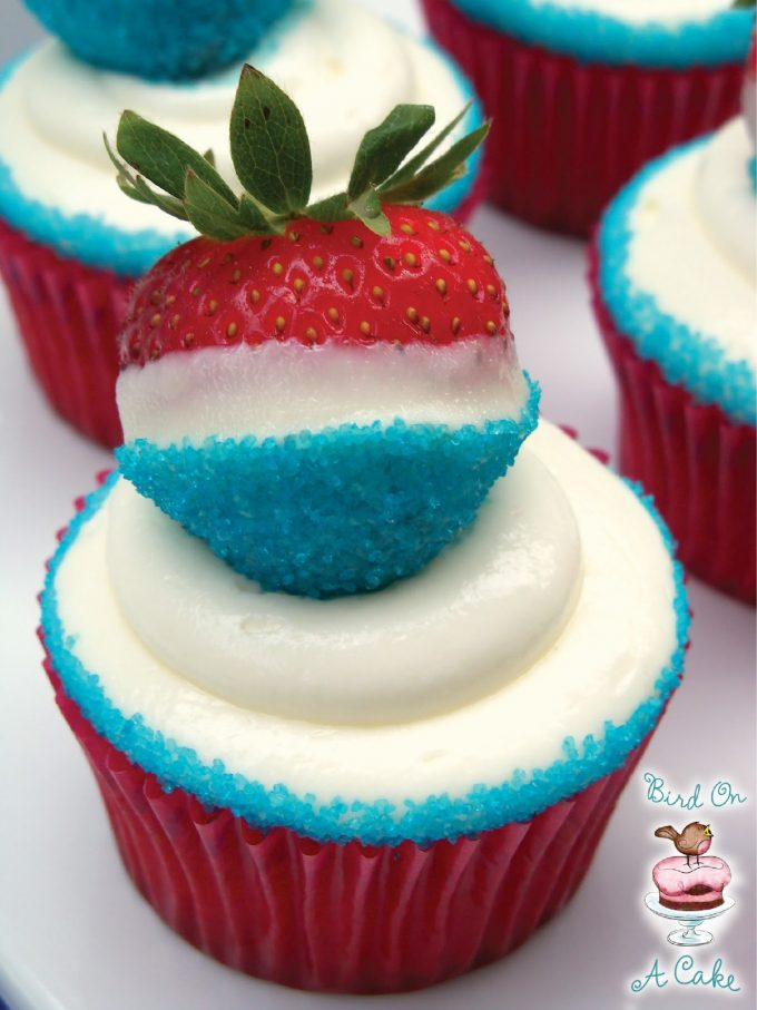 Patriotic Strawberry Cupcakes