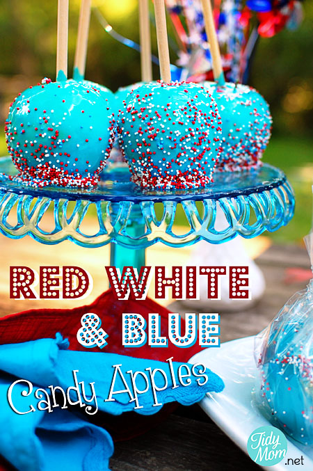 Red, White, and Blue Candy Apples
