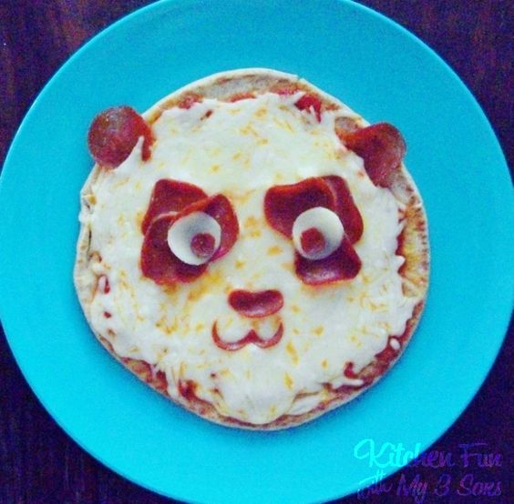 Panda Pepperoni Pita Pizza from KitchenFunWithMy3Sons.com