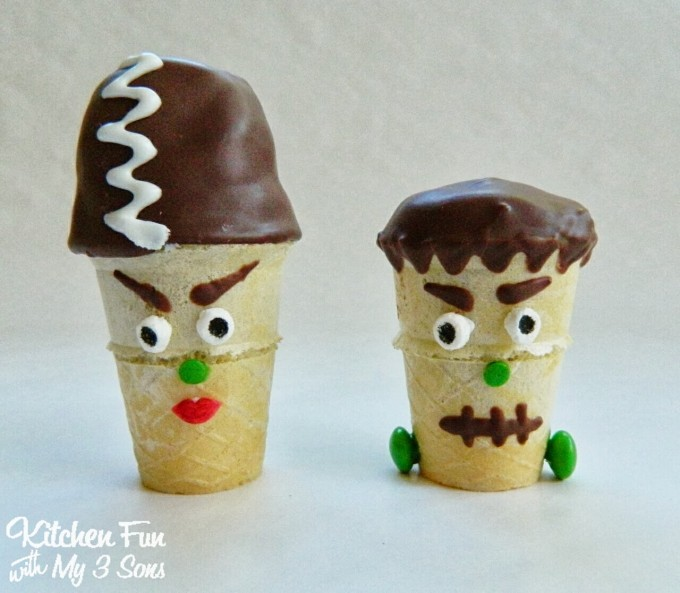 Frankenstein & His Bride Mini Cake Pop Cones....such a cute cupcake idea for Halloween!