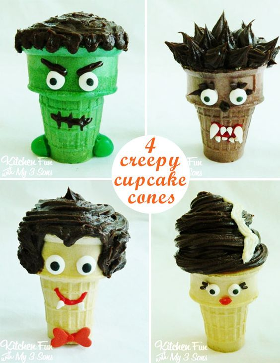 Creepy Cupcake Cones for Halloween - Frankenstein, Dracula, The Wolf, Bride of Frankenstein....these cupcakes are such a fun party idea!