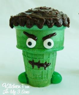 Frankenstein Cupcake Cone