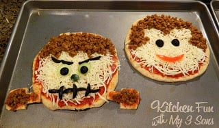Halloween Classic Monster Pita Pizza's Frankenstein and Dracula