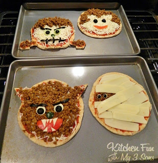 Halloween Classic Monster Pita Pizza's