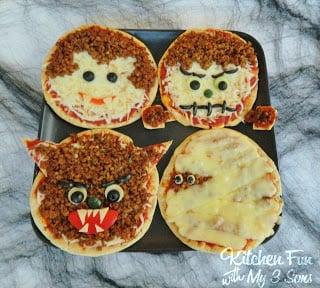 Halloween Classic Monster Pita Pizza's