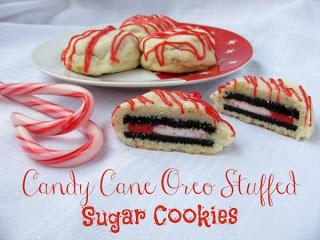 Candy Cane Oreo Stuffed Sugar Cookies