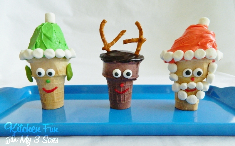 Santa, Elf, & Rudolph Cupcake Cones for Christmas from KitchenFunWithMy3Sons.com