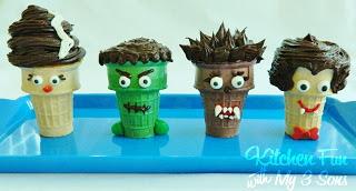 Creepy Cupcake Cone Monsters