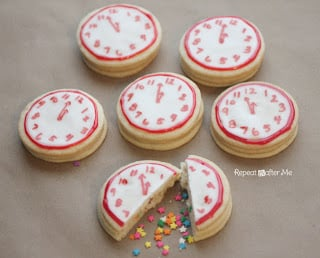 New Years Eve Confetti Clock Cookies