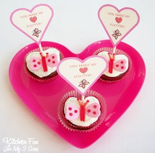 Valentine Butterfly Cupcakes with Free Printables!