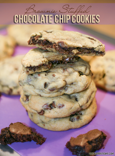 Brownie Stuffed Chocolate Chip Cookies