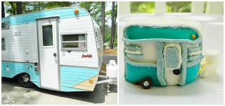 We made a replica of our vintage camper out of a jumbo marshmallow, fruit roll up, mini chocolate chip (for the wheel) & a little bit of frosting....