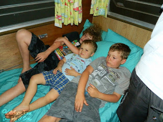 Here are the boys watching a movie before bed