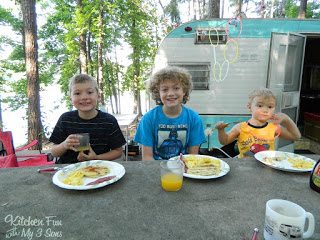 My favorite part of camping is the morning breakfast!