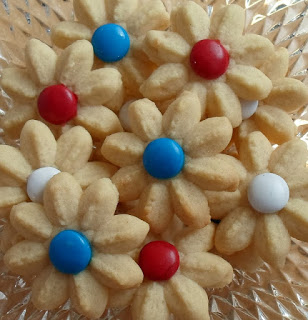 Red, White, & Blue Spritzer Cookies