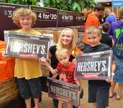 Here we are in Hershey, PA with our giant candy bars