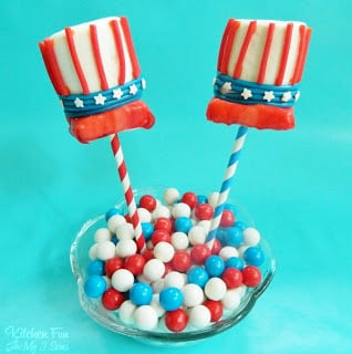 Uncle Sam Hat Marshmallow Pops