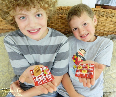 Here are my 2 older boys with our fun Picnic Blanket Treats
