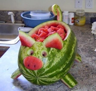 Pig Watermelon...these are the BEST Watermelon ideas!