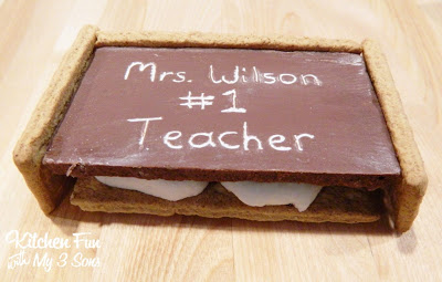 Attach the graham cracker pieces on the sides using the chocolate frosting