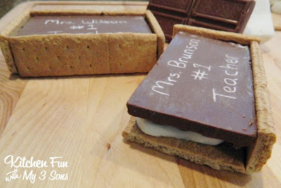We then broke graham cracker pieces at the seems & cut the edges to fit the sides