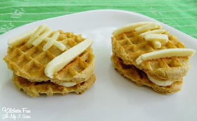Eggo Waffle Peanut Butter and Banana Football Snacks Side View