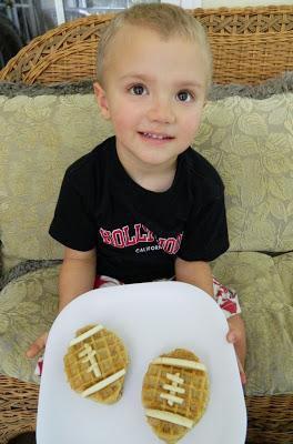 Eggo Waffle Peanut Butter and Banana Football Snacks