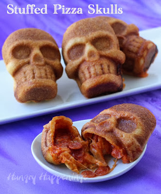 Gooey Stuffed Pizza Skulls