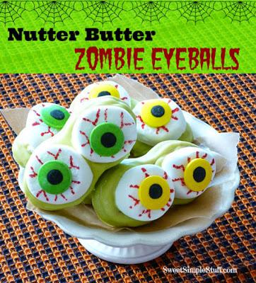 Nutter Butter Zombie Eyeball Cookies