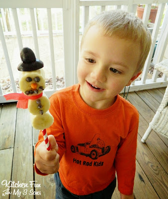 Here is my 3 year old with his Snowman Fruit Pop