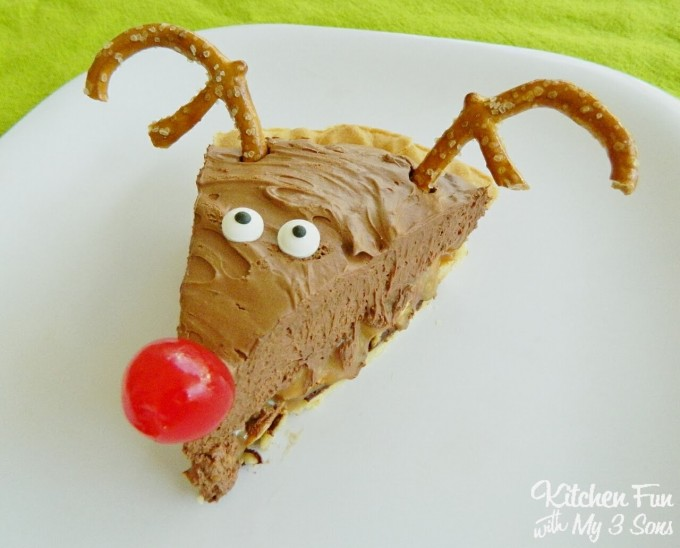 Rudolph the Red Nose Reindeer Pie...this Chocolate Caramel Pie Recipes is AMAZING!