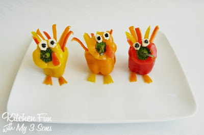 Thanksgiving Turkey Sweet Peppers filled with hummus..a fun & healthy appetizer or snack for the kids!