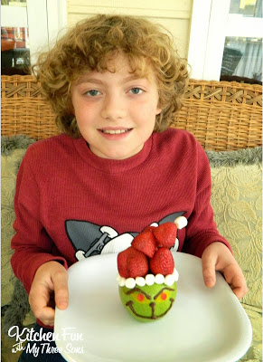 Here is my oldest with his fun Grinch Snack