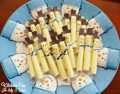 Cheese stick snowmen