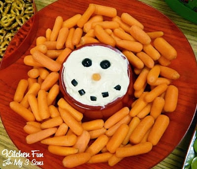 Snowman Dip & Veggies for Christmas