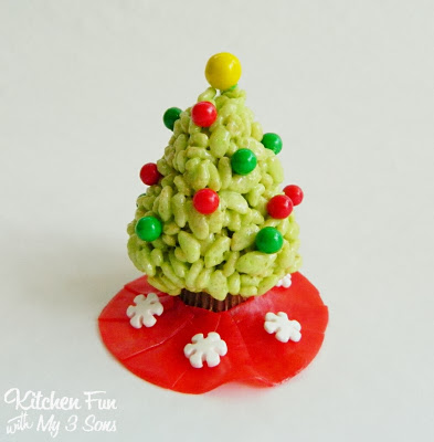 Christmas Key Lime Rice Krispie Treats Trees with Skirt